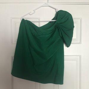 Classy, bold green asymmetrical top.